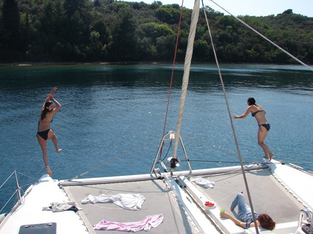 Jumping from our catamaran