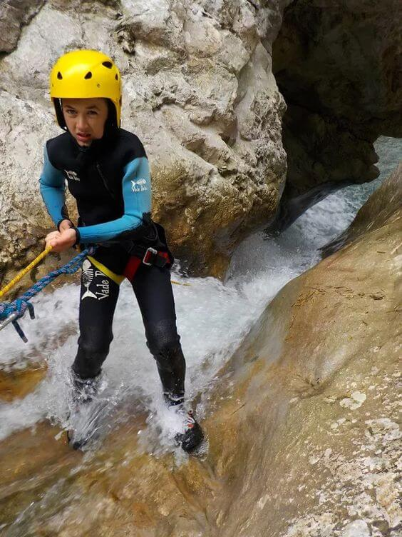 Canyoning down a waterfall on the Active Family Montenegro Holiday