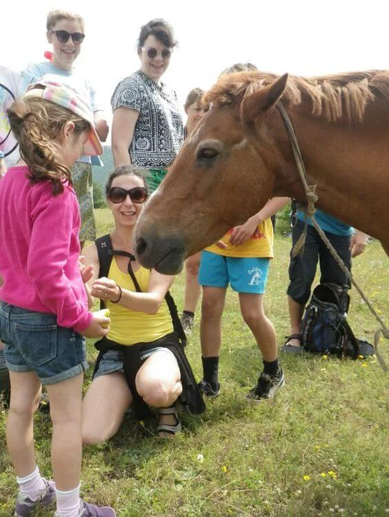 Feeding horses and meeting wildlife on the Active Family Montenegro Holiday.