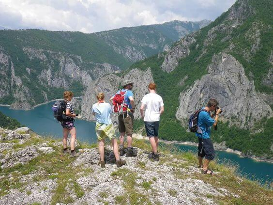 Hiking around Piva Lake in Montenegro on one of the guided hiking tours.