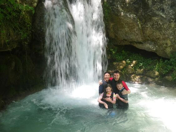 Getting under a waterfall of 4 degree water is a real thrill on the Active Family Montenegro Holiday!