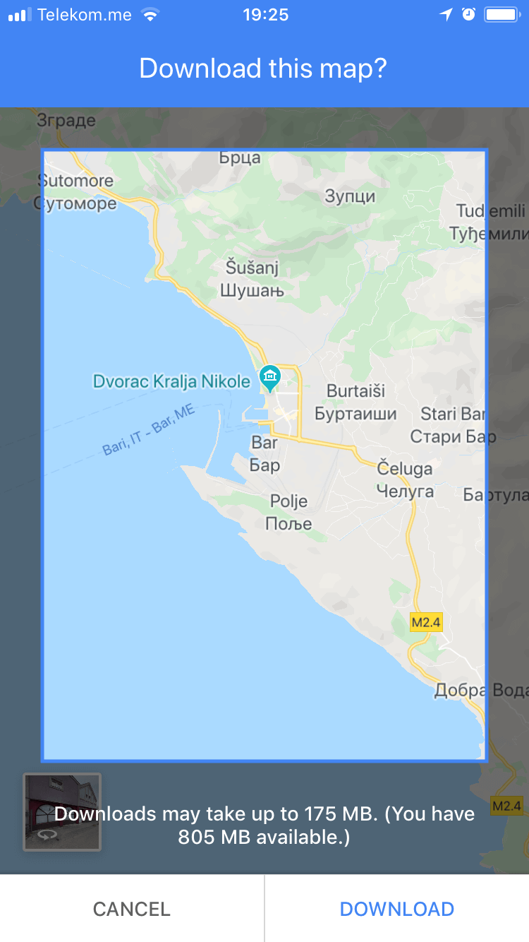 How to get a free Bar Montenegro map using Google Maps on your phone