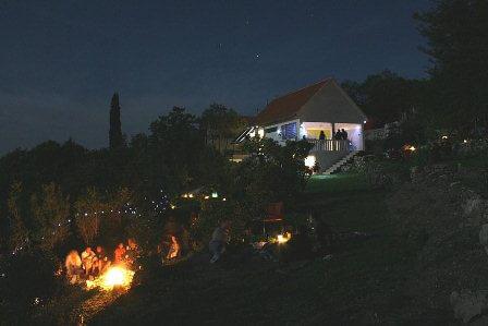 Camp Full Monte at night