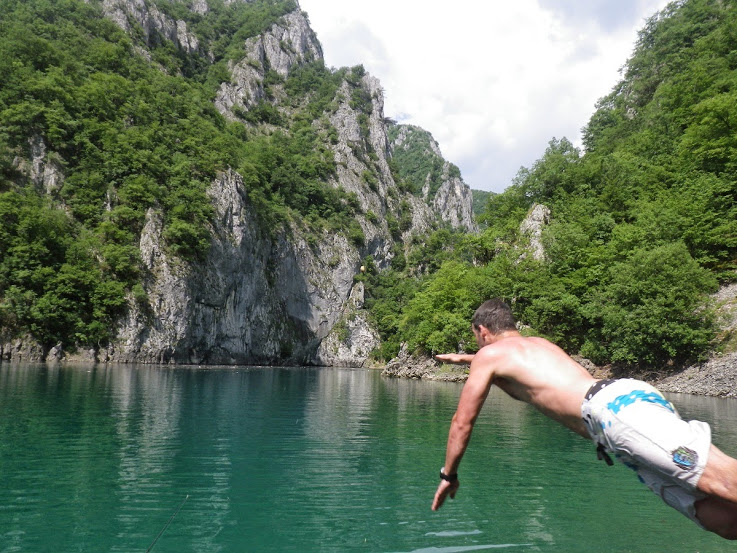 swimming in Piva Lake