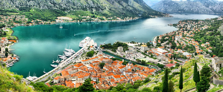 The view of Kotor from San Giovanni Fortress in Montenegro.