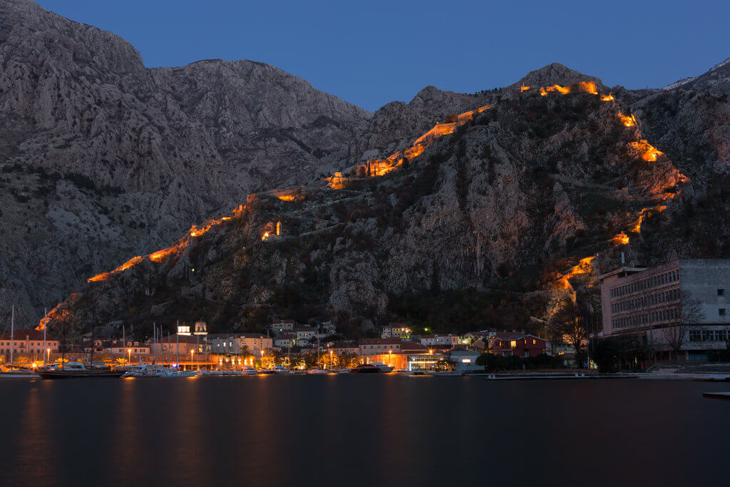 Kotor walls walk up San Giovanni Fortress in Montenegro.