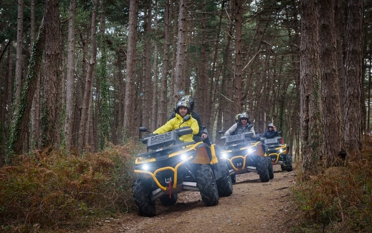 An ATV tour in Montenegro following old paths through pine forest.