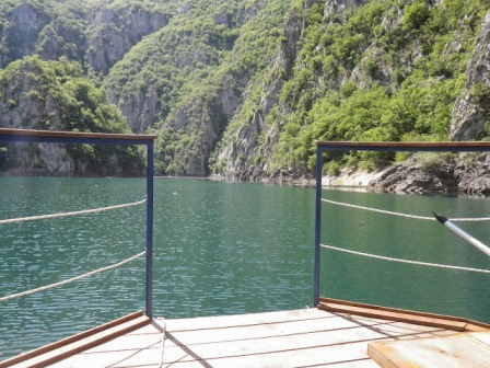 Cruising on Piva Lake as part of the 2 day Activity Break in Montenegro.