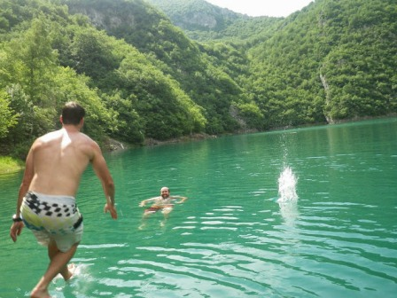 Swimming in Piva Lake on the 2 day activity break in Montenegro.