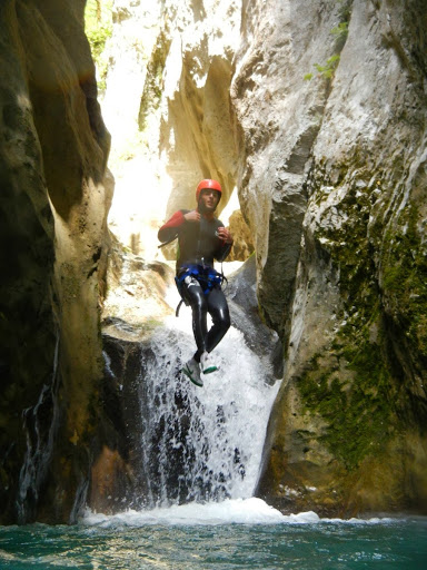 Canyoning in Nevidio Canyon in Montenegro.