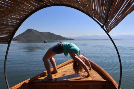 Yoga pose on boat