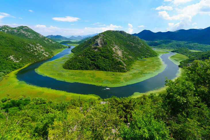 Pavlova Strana, part of Rijeka Crnojevica (Crnojevic River) which leads to Lake Skadar in Montenegro.