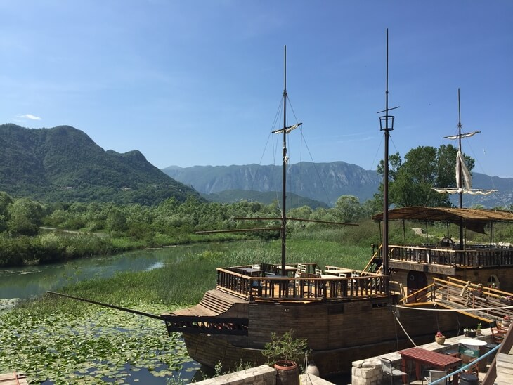 Silistrija boat restaurant in Virpazar, the gateway to beautiful Skadar Lake.