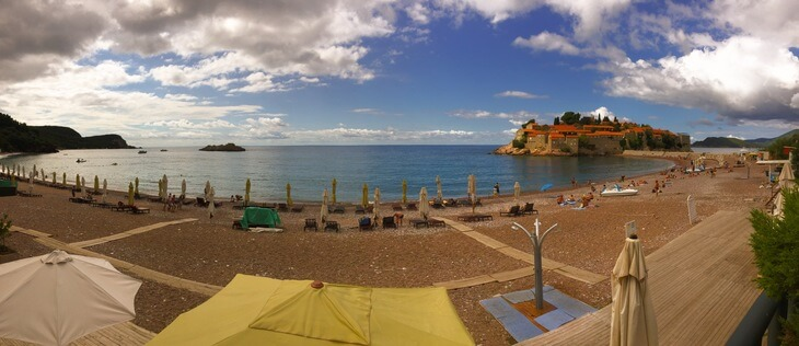 Free public beach at Sveti Stefan Montenegro.