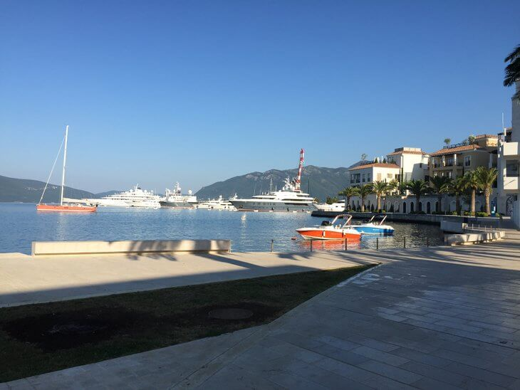 Pine, the Tivat waterfront has cafes, hotels, restaurants and joins with stunning Porto Montenegro