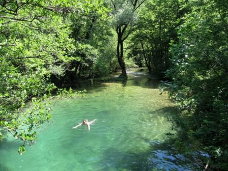 Wild swimming in rock pool