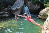 Wild swimming in rock pool