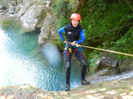 Abseiling a waterfall
