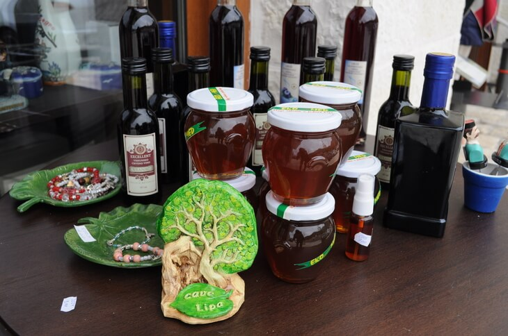 Souvenirs at Lipa Cave, near Cetinje, Montenegro. Choose from ornaments and jewellery as well as locally made honey, wine and olive oil.