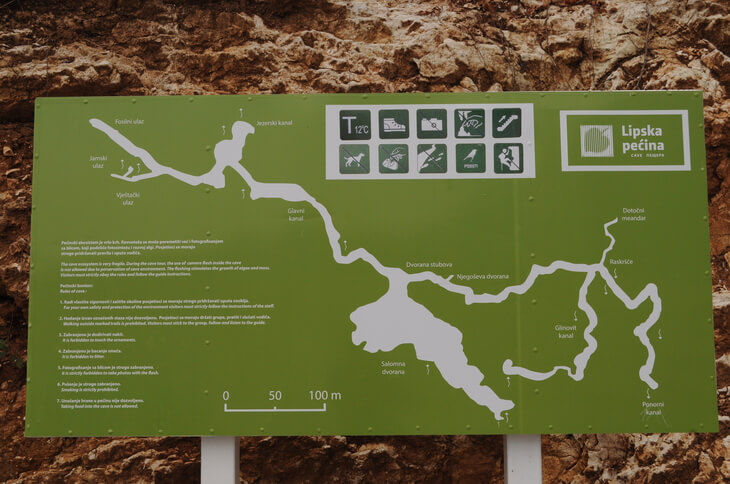 Map of Lipa Cave, near Cetinje in Montenegro. Choose from two tour options into the cave.