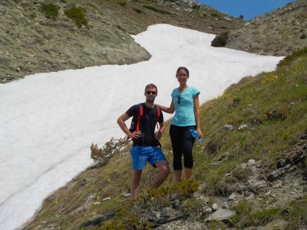 Hikers at a glacier